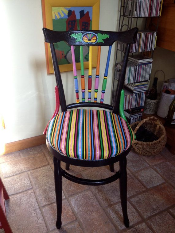 Whimsical Painted Chair 195 00 Via Etsy Decorating