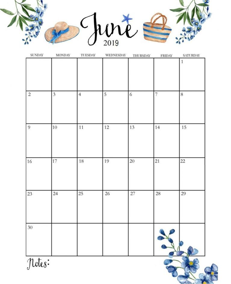 Cute June 2019 Calendar June Calendar Printable Monthly