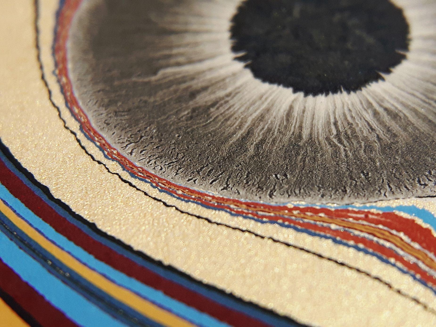 Tiger Eye marbled paper by Renato Crepaldi. #marbledpaper #marbling #renatocrepaldi #bookbinding #marbled #paper #marbled_paper #endpaper #decorative #paper #bookmaking #macro