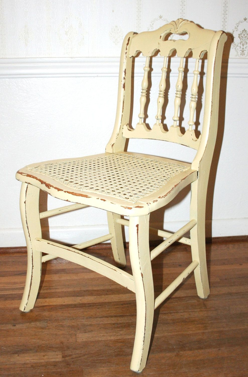 Antique Hand Painted Distressed Shabby Chic Cottage Chic Hand Carved Wood Chair Cane Seat