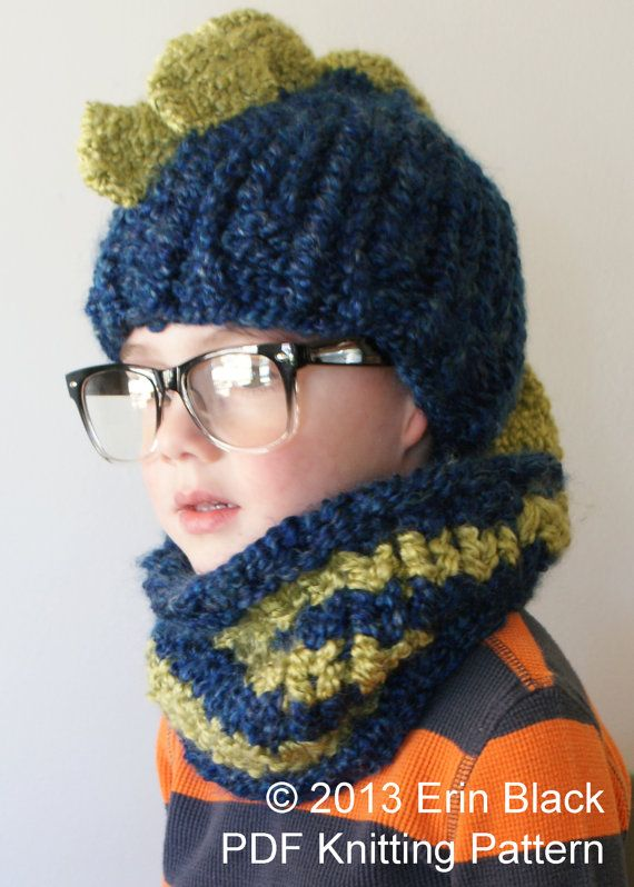 Diy Knitting Pattern Chunky Dinosaur Hat And Cowl In Toddler