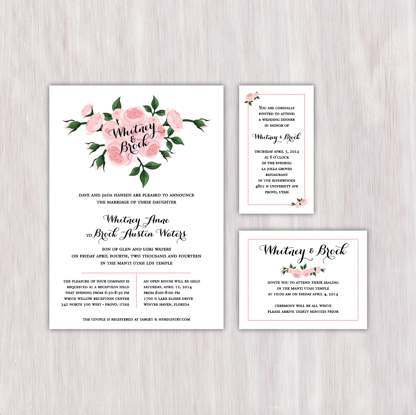 pink roses single sided wedding announcement with matching dinner