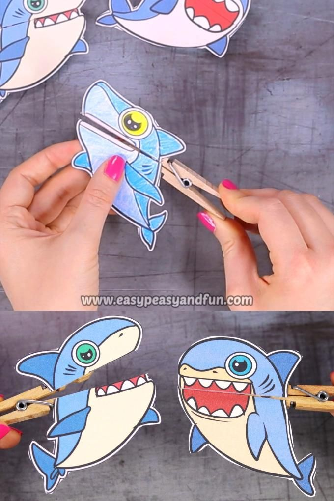 Shark Clothespin Puppets for Kids