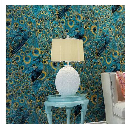 Single Faucet Modern Peacock Wallpaper Paper Wall Paper 3d Roll Gold Bordered For Living Room Bedroom T Blue And Gold Bedroom Wallpaper Paper Peacock Wallpaper White blue gold peacock wallpaper