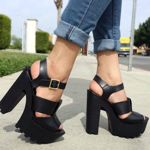 Open Toe Chunky Lug Sole Heels – Save