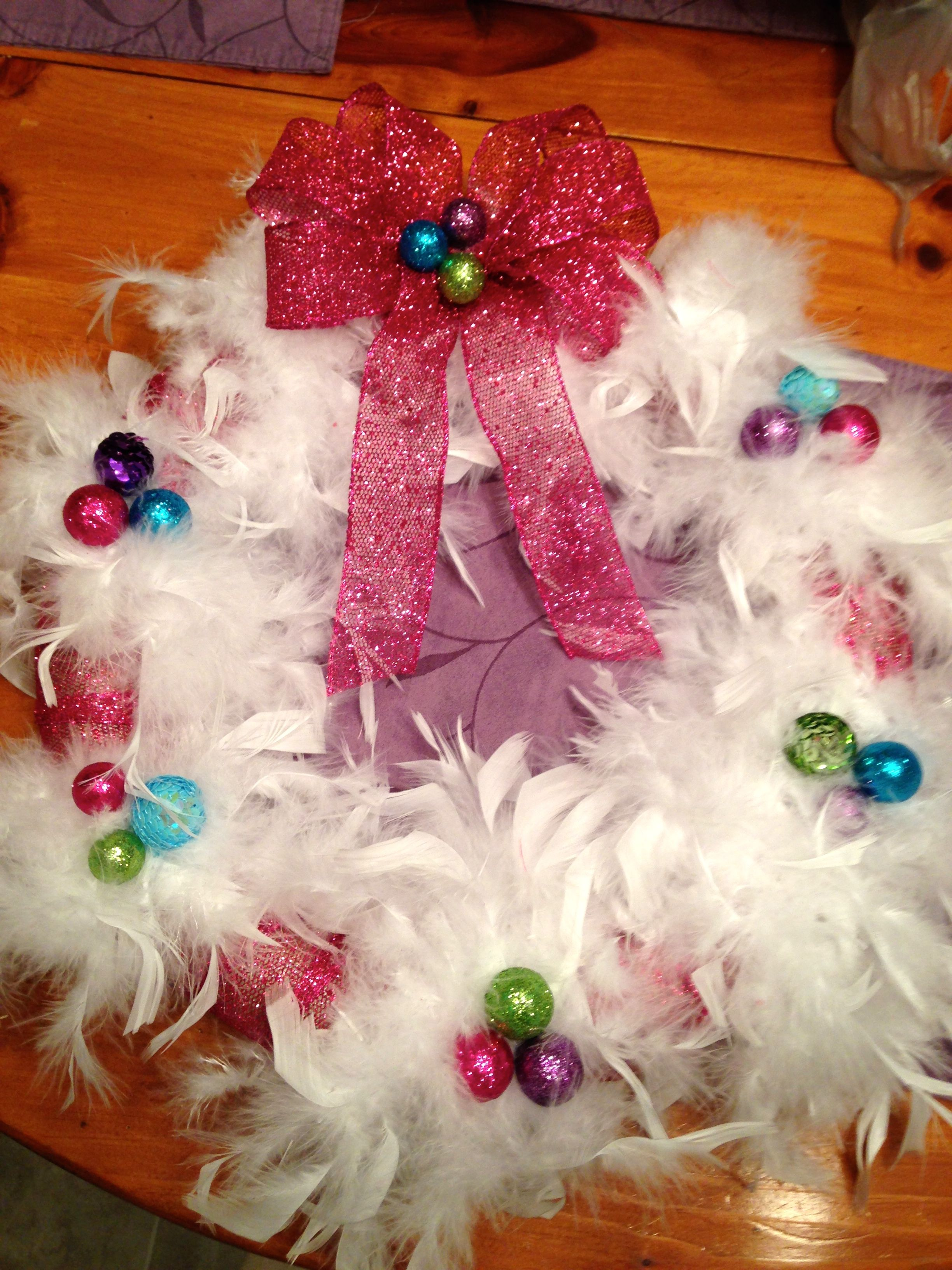 I made this for a Christmas gift! Lots of fun doing it with a friend! Made with a feather boa!!