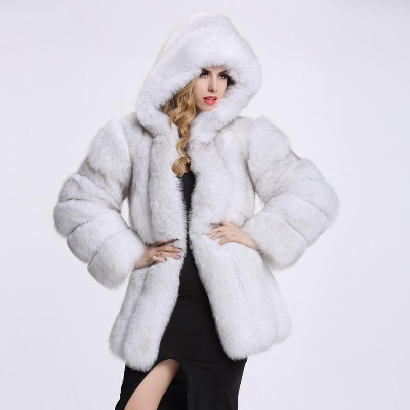 3afd1db9064 ZADORIN Elegant Long Faux Fur Coat fluffy Jacket 2017 Winter Women Thick  Warm Faux Fur Coats With Hooded White Black Plus Size