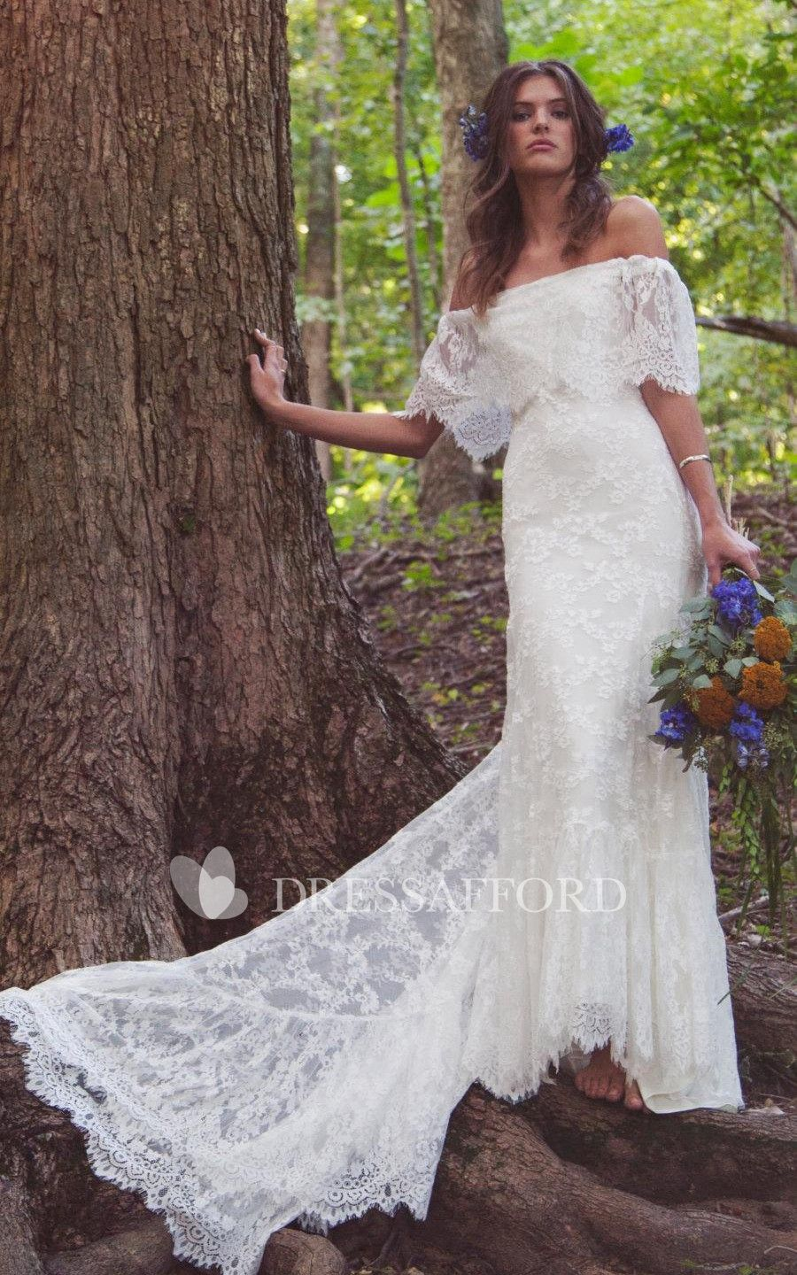 Scalloped floorlength train offshoulder boho bridal dress