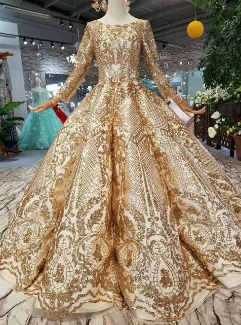 Gold Ball Gown Sequins Bling Bling Long Sleeve Floor Length Wedding Dress Ball Dresses Gowns Ball Gowns