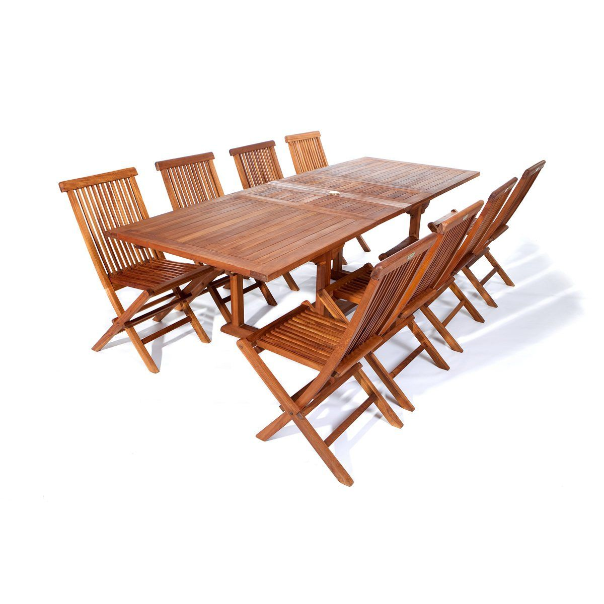 - All Things Cedar Table And 8 Teak Extension Folding Chair Set