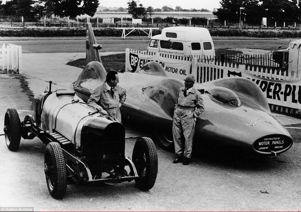 Donald Malcolm Campbell, pictured with his Sunbeam 350 and Leo Villa with the Bluebird circa 1964