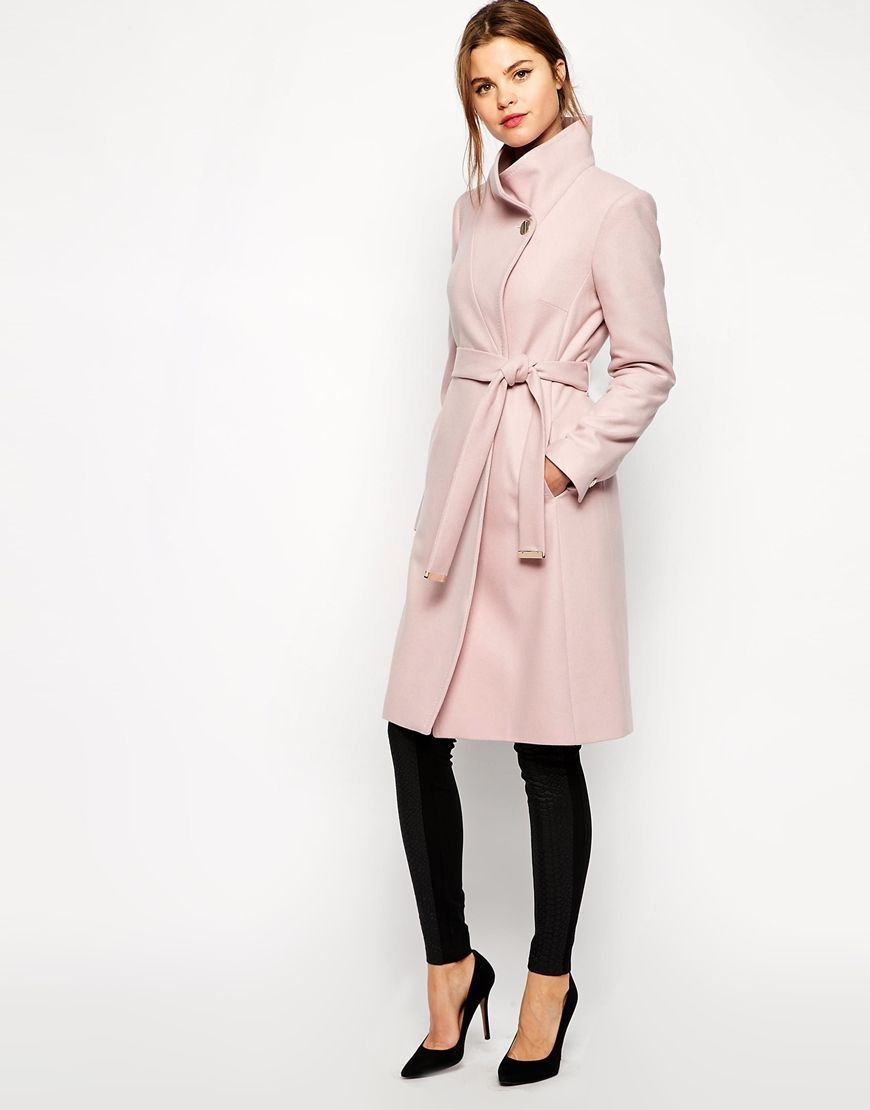 c1cbad32605 Ted Baker Belted Wrap Coat in Pale Pink