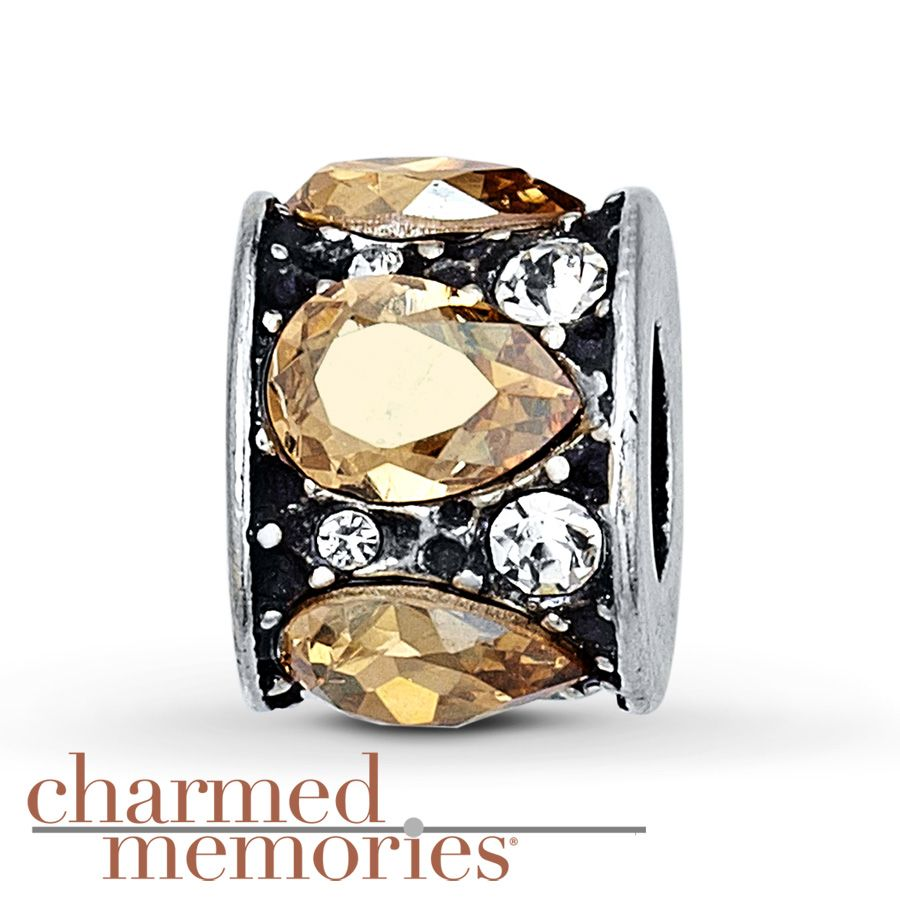 Charmed Memories Champagne Cubic Zirconia Sterling Silver Charm 7AtVtKP