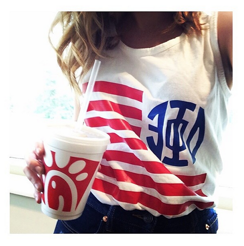 Delta phi epsilon tumblr would love this shirt idea for alpha xi sorority monogram or your personal monogram american flag tank comfort colors top or tee voltagebd Image collections
