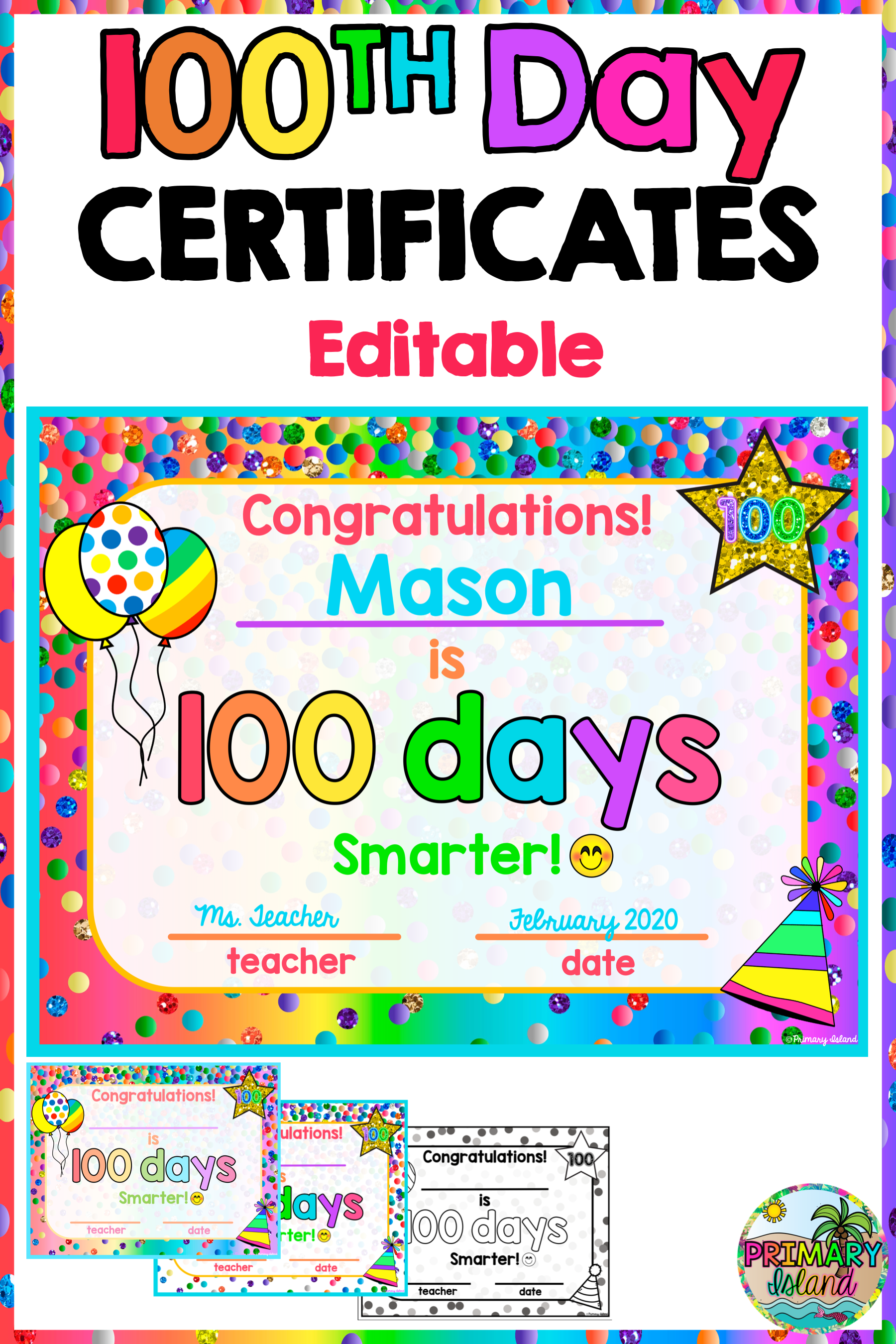 100th Day Of School Certificates School Certificates 100 Days Of School 100th Day