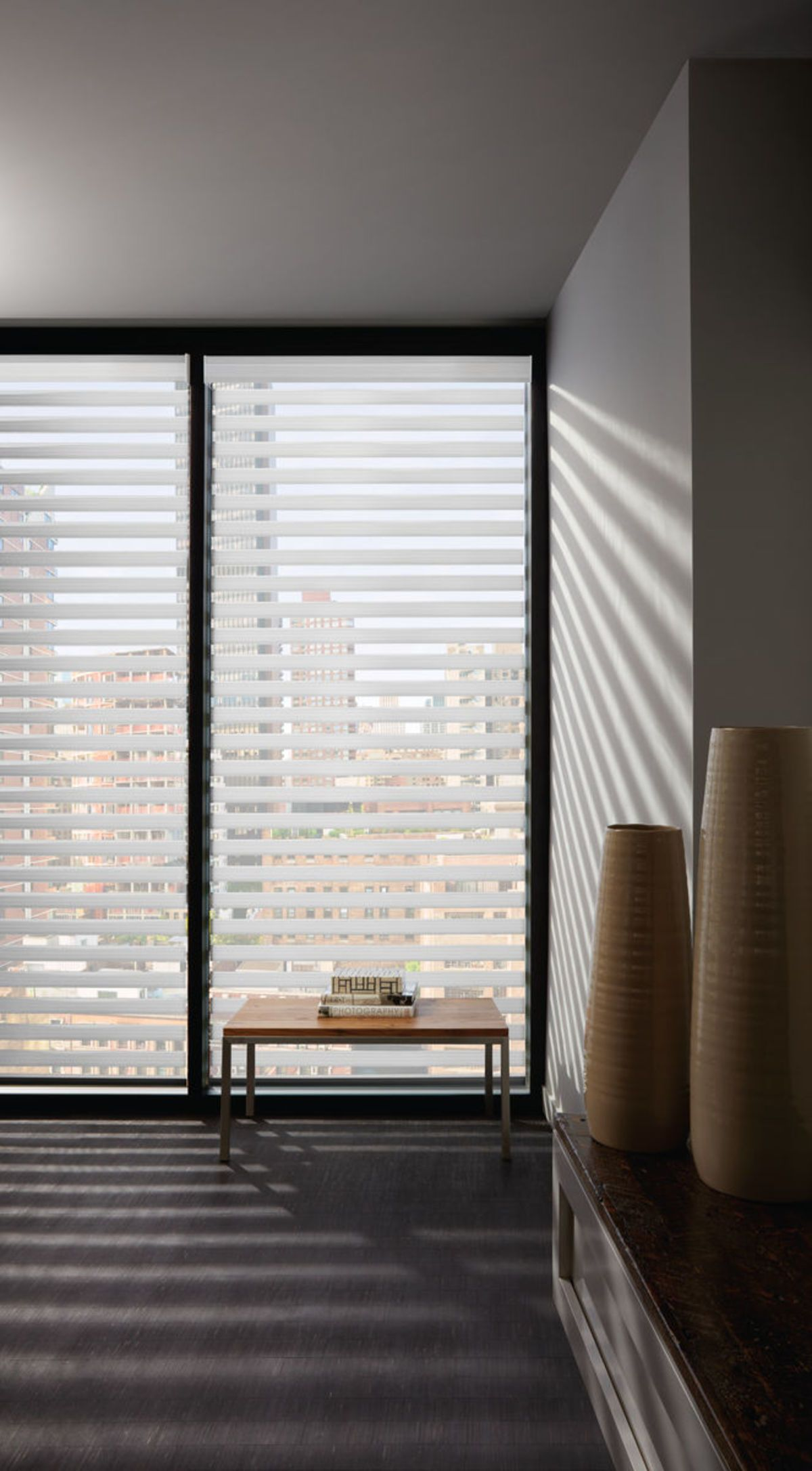 Hunter Douglas Designer Banded Shades Window Treatments Blinds Light Filtering Room Darkening Privacy View Through