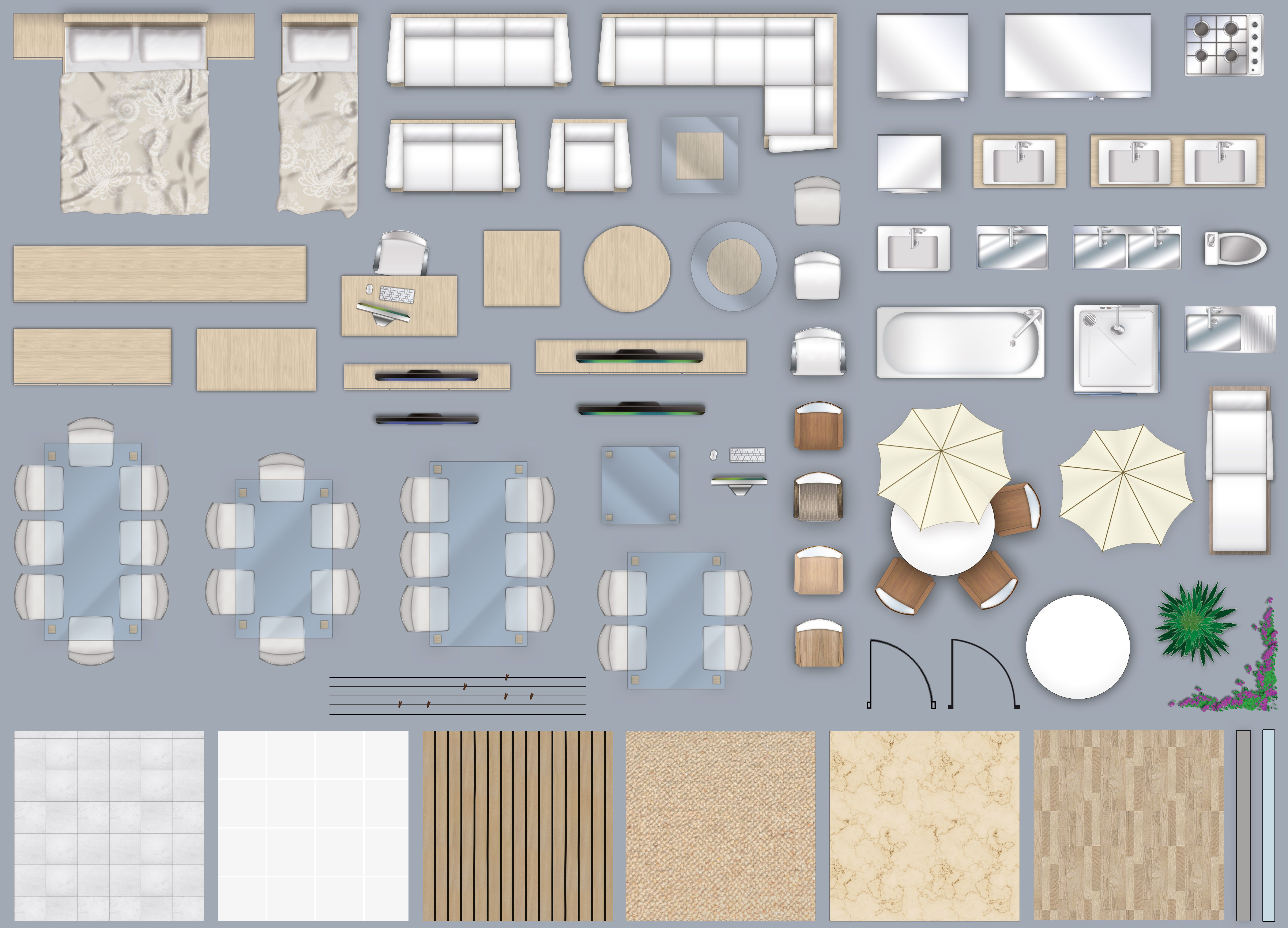 2d furniture floorplan top down view style 4 PSD | 3D model | 2d and 3d