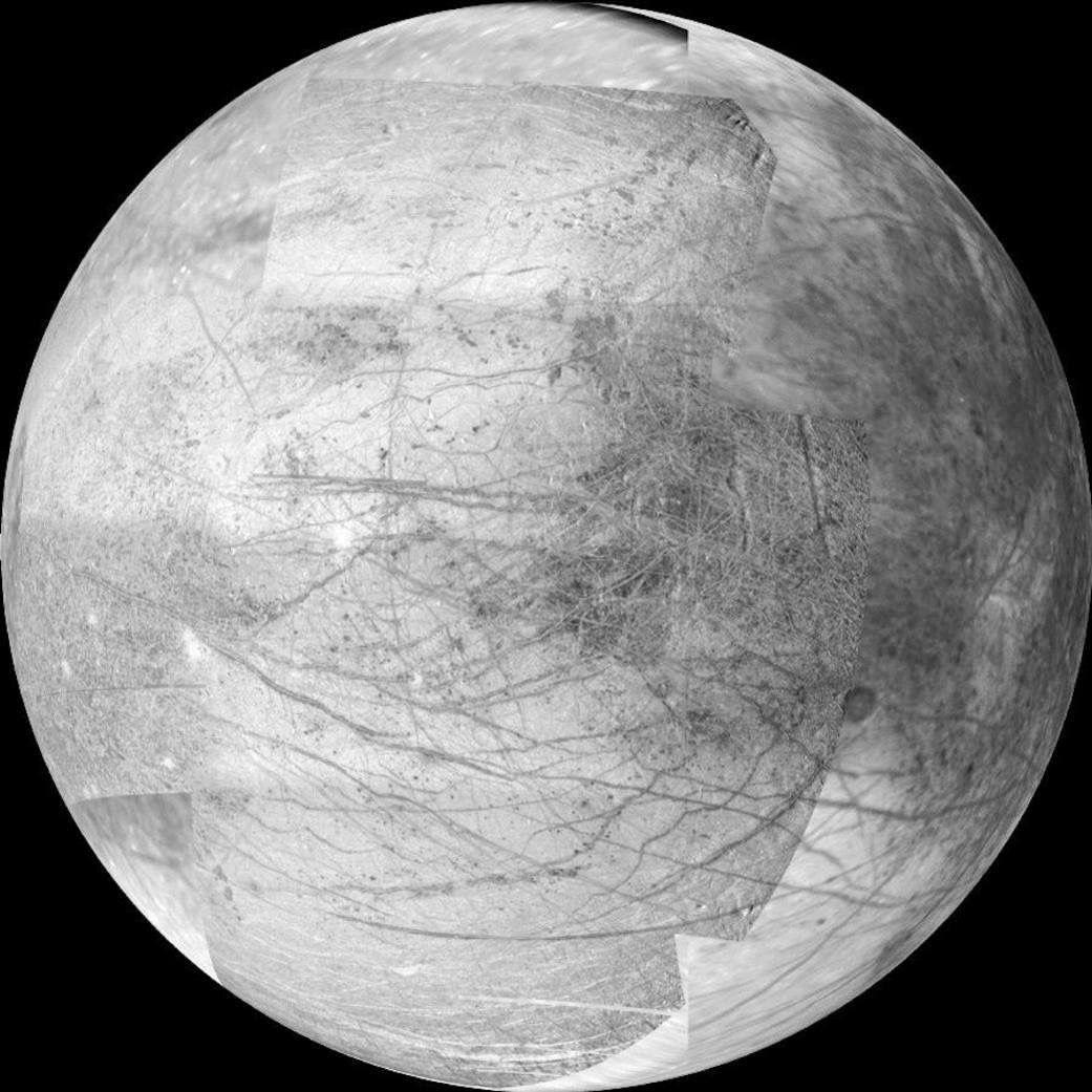 Europa Jupiter facing side as taken by Galileo