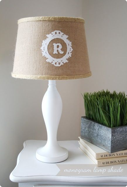 Labelhome decor search results diy monogram monograms and add a silhouette letter cutout to your burlap lampshade for a custom touch learn how mozeypictures Image collections