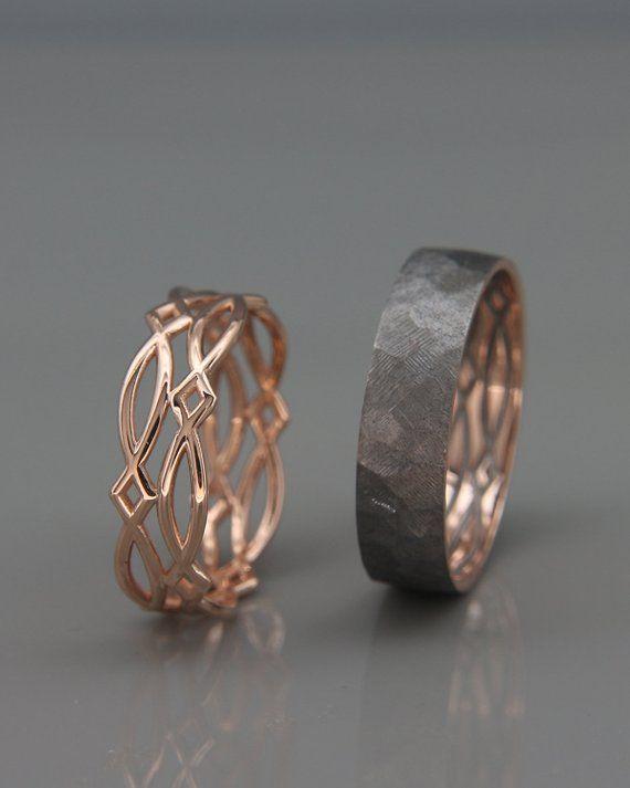 14K Rose Gold schwarz und helle keltische Eheringe Set | Handgemachte 14 k rose gold keltische Hochzeit Ringe | Seine und ihre Hochzeitsbänder Set