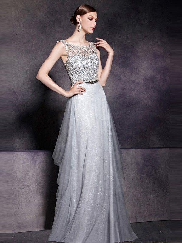 A-Line/Princess Bateau Sleeveless Tulle Floor-Length Lace ...