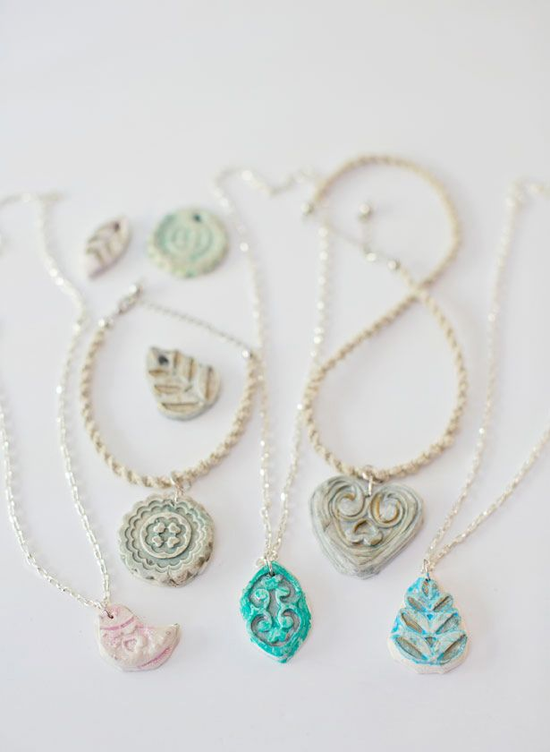 Diy clay pendant necklaces clay pendants and simple diy simple diy clay pendant necklaces the kids can make mom for mothers day aloadofball Image collections