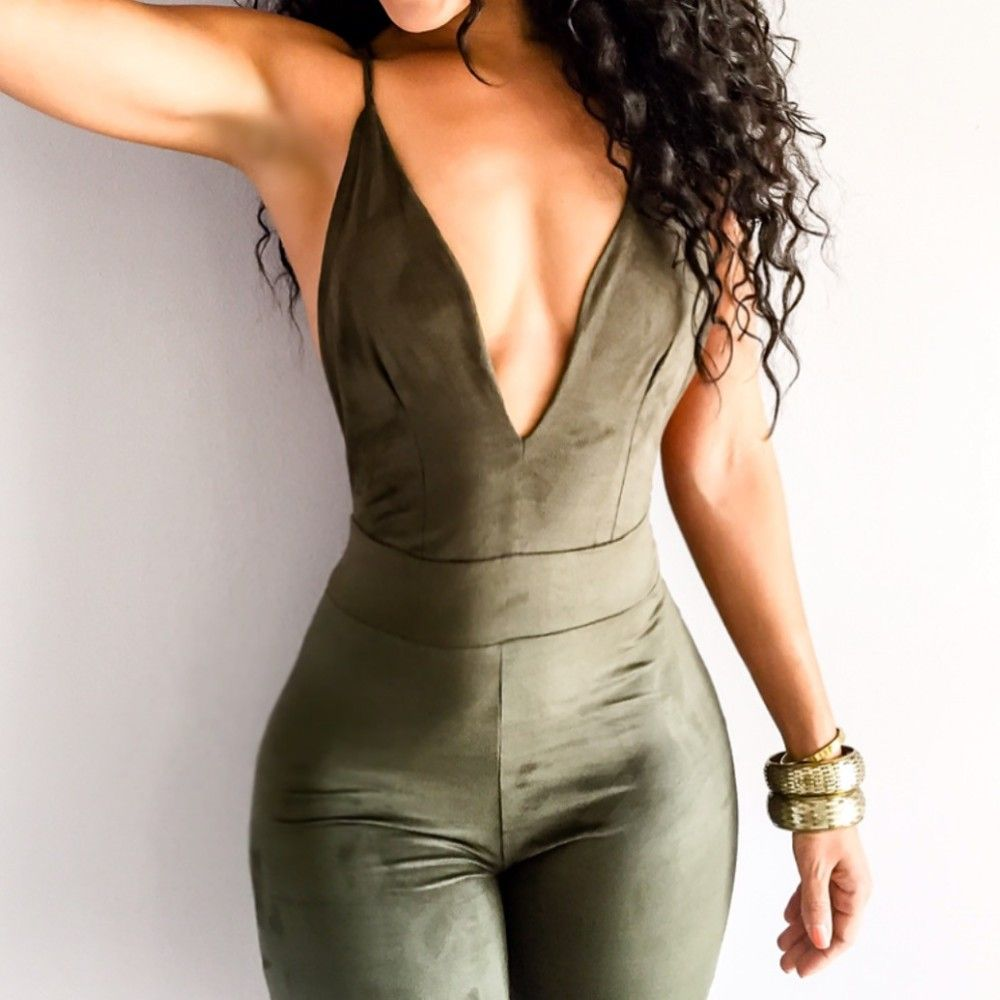 New Sexy Tight Fitted Jumpsuit Faux Suede Olive Green Halter ...