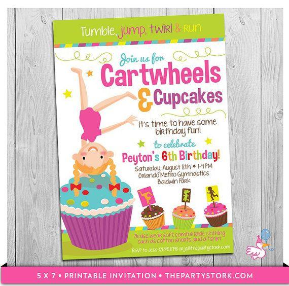 Cartwheels And Cupcakes Invitation Printable Girls Birthday Party Invitations