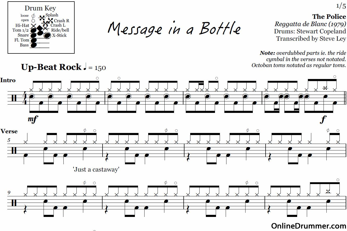 Message In A Bottle The Police Drum Sheet Music Sheet Music Drums Sheet
