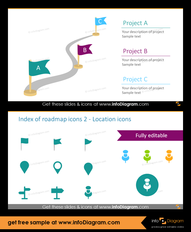 roadmap diagram templates for project strategy planning ppt icons