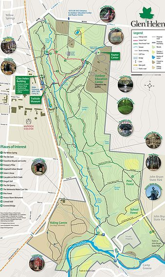 Official Glen Helen Trail Map Ohio Things Yellow Springs Hiking