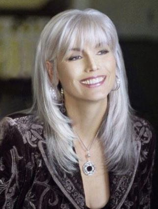 high quality long straight fashional grey wigs with