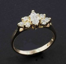 .55 TCW Marquise Cut Genuine Diamond Bridal Engagement Ring    14K Yellow Gold