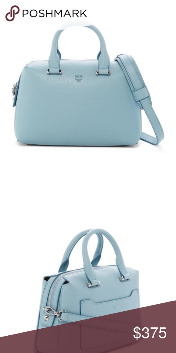 e034456a2bdc2e MCM Ella Boston Small Leather Satchel - Baby Blue -Dual top handles -  Detachable adjustable