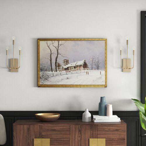 "Photo of East Urban Home Framed Poster ""Winter Scene with Figures on a Path Near A Church by Nils Hans Christiansen, art print | Wayfair.de"