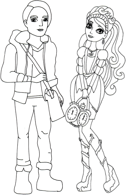 Monster High Colouring Pages A4 : Apple white and raven queen free coloring page printable