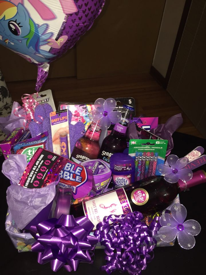 purple themed 21st birthday gift basket for a female hustle