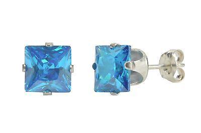 Sterling Silver Round Blue Topaz CZ Stud Earrings December .925 Jewelry