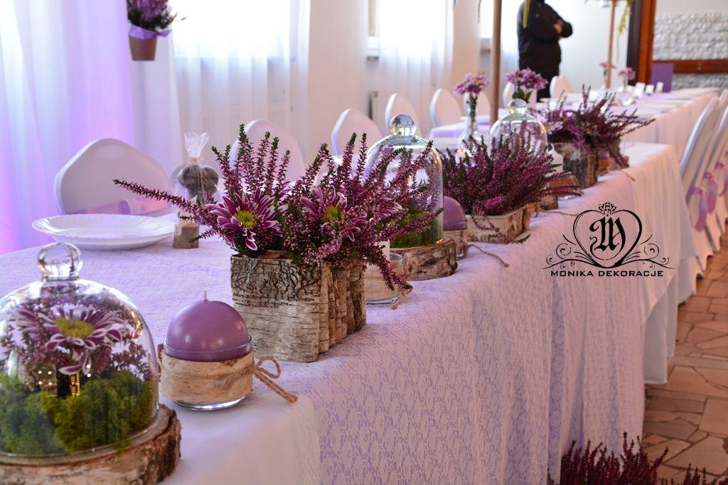 Wrzosowa Dekoracja Slub W Pazdzierniku Bukiety Z Wrzosem Dekoracja Sal Wedding Table Centerpieces Vintage Wedding Reception Wedding Table