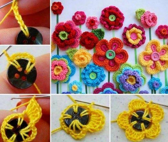 Crochet Button Flowers Video Free Pattern Lots Of Ideas | gehäkelte ...