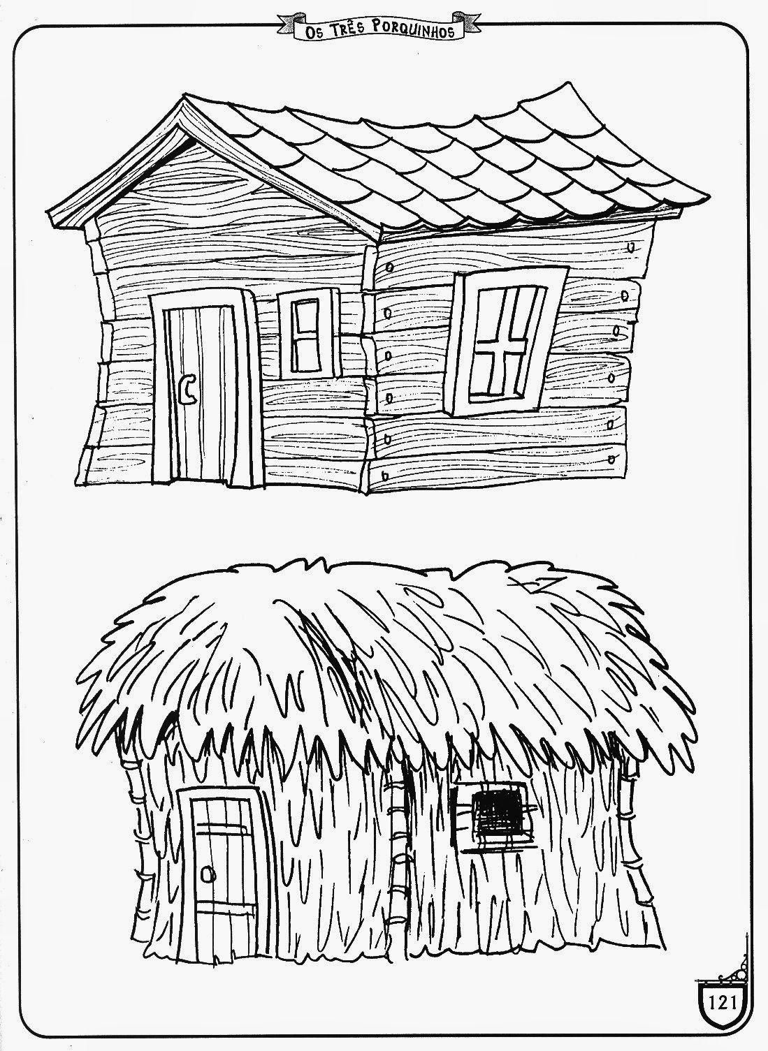 imagens de atividades para colorir casas de palha dos porquinhos