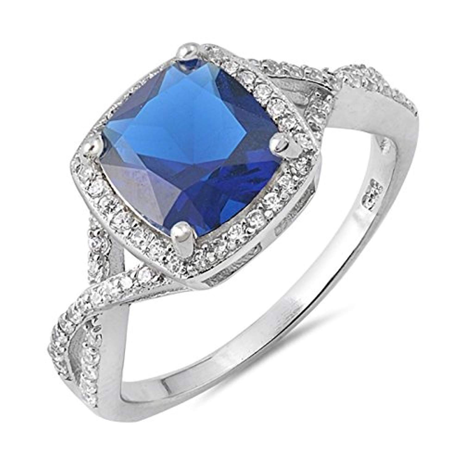 Simulated Blue Sapphire Halo Engagement Ring .925 Sterling