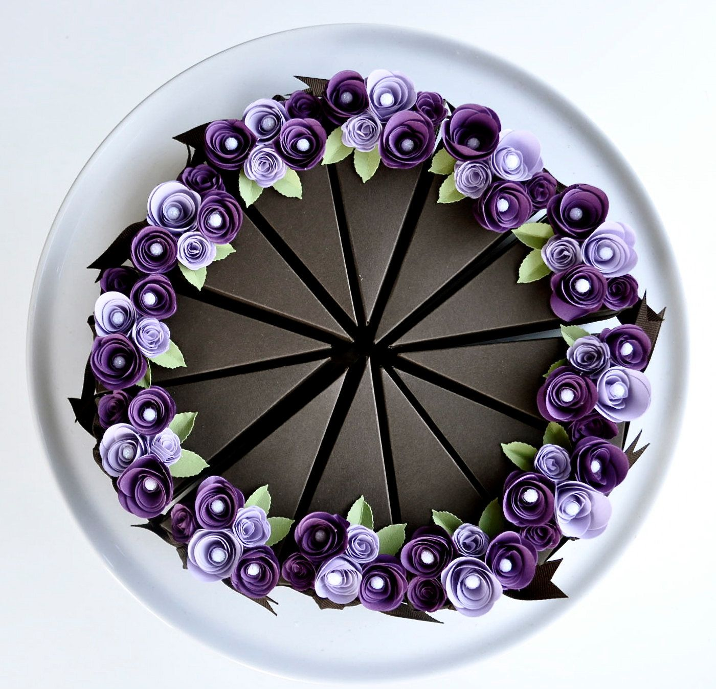 Paper Chocolate Cake Slice Favor Box With Purple Flowers Wedding Party