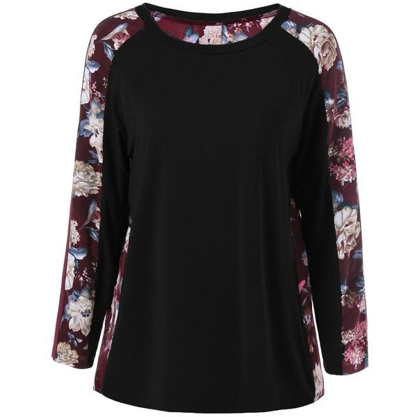 Raglan Sleeve Floral T Shirt ($13) ❤ liked on Polyvore featuring tops, t-shirts, raglan t shirt, floral tops, floral print tee, raglan sleeve t shirt and floral print t shirt