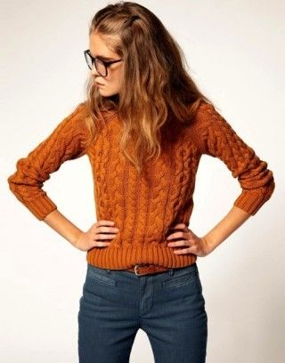fall rust brown cable-ish pullover sweater with drk teal knit pant n buckle belt n w/ mixed brns reading glasses