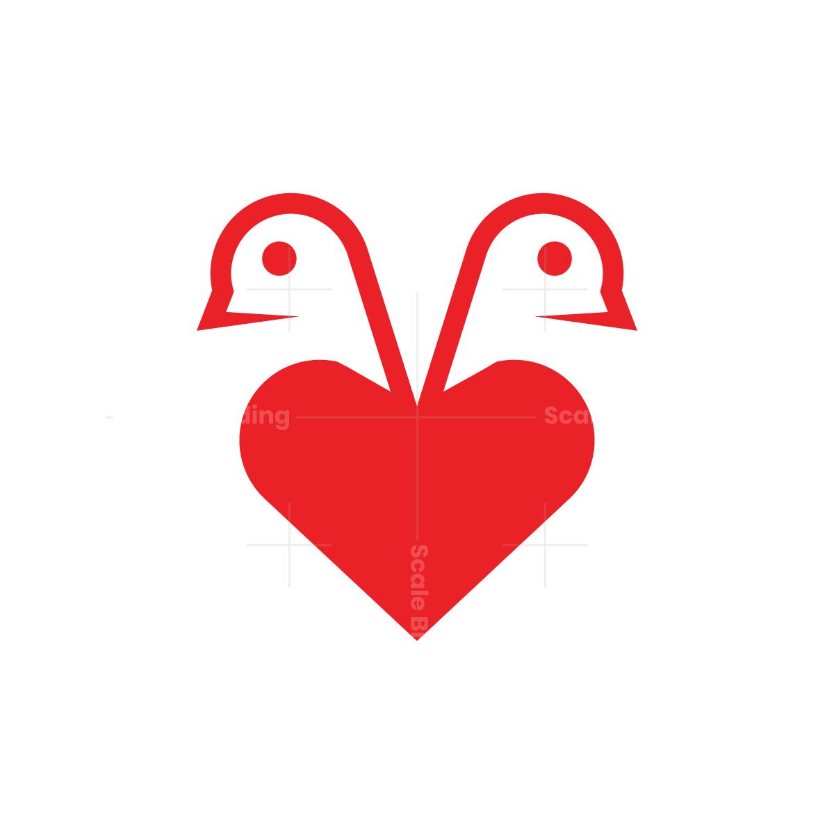 Heart Love Birds Logo Bird Logos Bird Logo Design Simple Logo