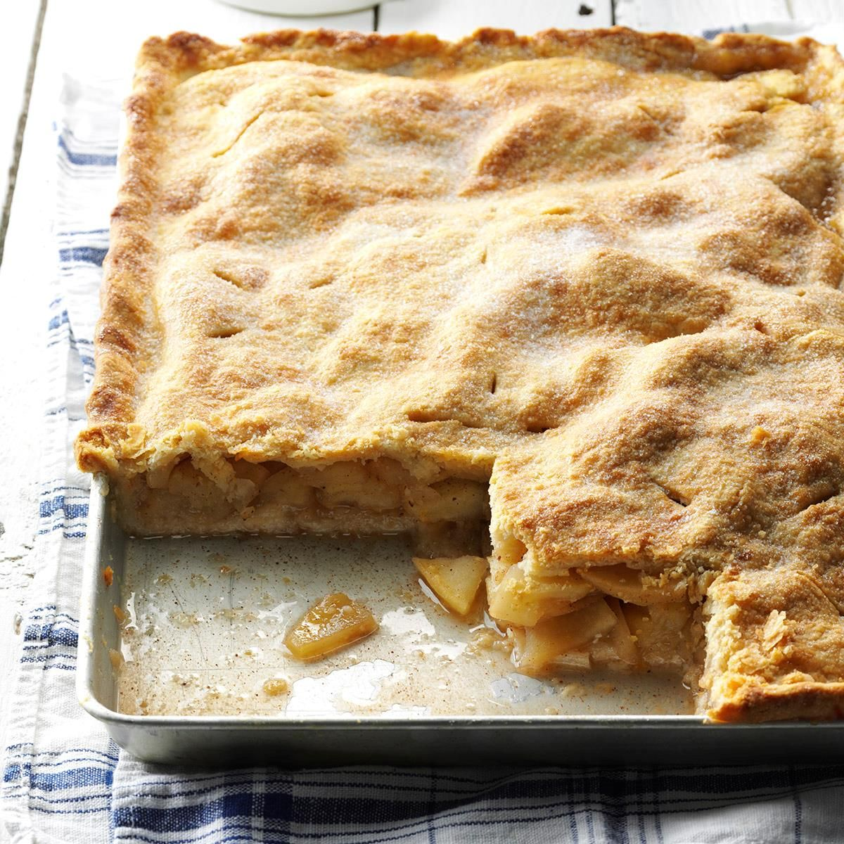 Farm Apple Pan Pie Recipe -You'll find this pie's very convenient for taking to a covered-dish supper, picnic, etc. But be prepared—people always ask for a copy of the recipe!    Attending auction sales together is a fun hobby for my husband and me.