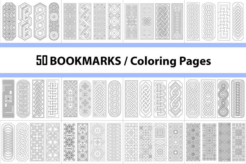 Coloring Book 50 Bookmarks Instant Download Commercial Use Printable Pages To Color Page For Coloring Coloring Ebook Pdf Coloring Books Bookmarks Unique Bookmark