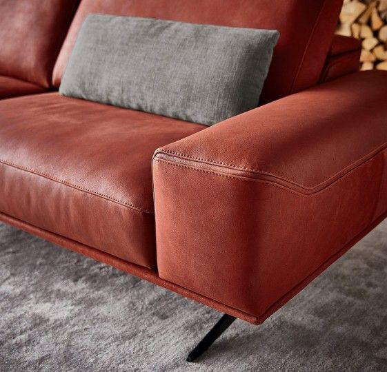 Canap charles brown cuir design profondeur assise Canape petite taille