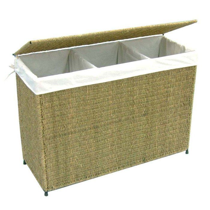 Woven 3 Section Hamper With Liner Instead Of Having Seperate